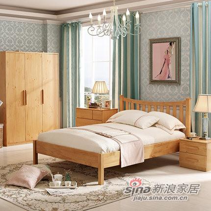 喜梦宝松木实木家具丹麦现代简约卧室三件套 双人床 +床头柜+衣柜-0