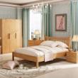 喜梦宝松木实木家具丹麦现代简约卧室三件套 双人床 +床头柜+衣柜