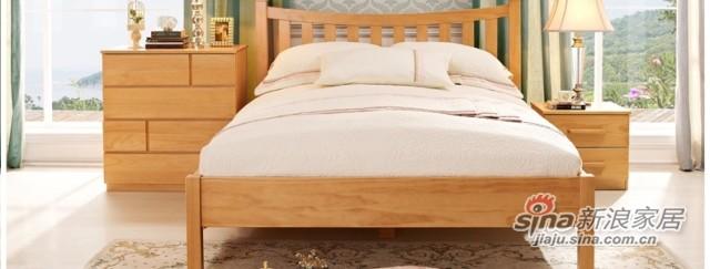喜梦宝松木实木家具丹麦现代简约卧室三件套 双人床 +床头柜+衣柜-3