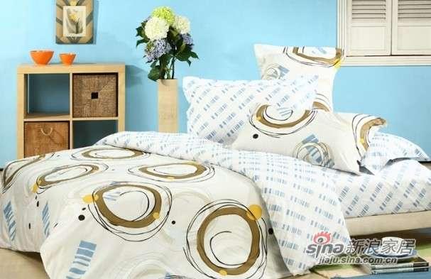 富安娜床品套件全棉斜纹床单四件套恋圈情-0