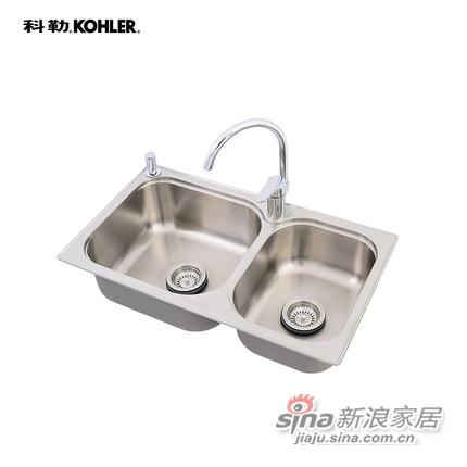 科勒Kohler 304丽笙双水槽厨盆含龙头-0