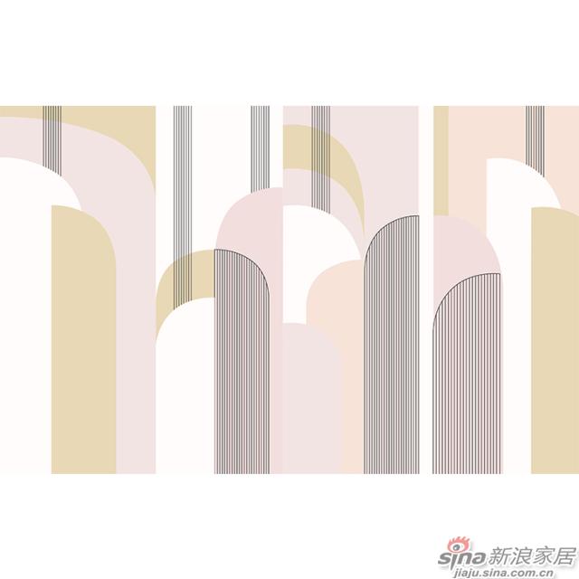 杨特定律_线面交织几何粉色壁画简欧风格背景墙_JCC天洋墙布