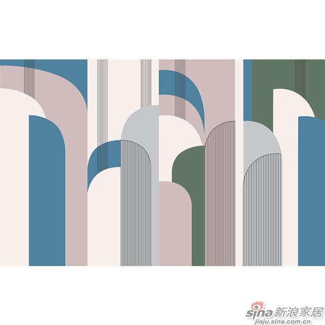 杨特定律_线面交织几何粉色壁画简欧风格背景墙_JCC天洋墙布-1