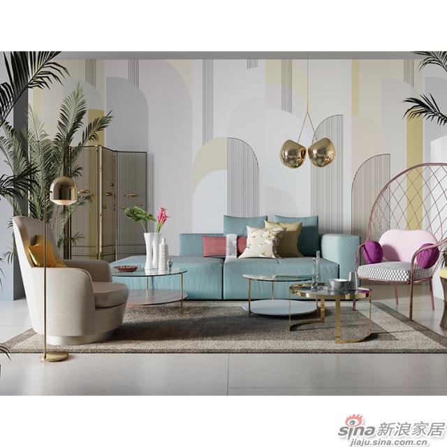 杨特定律_线面交织几何粉色壁画简欧风格背景墙_JCC天洋墙布-3
