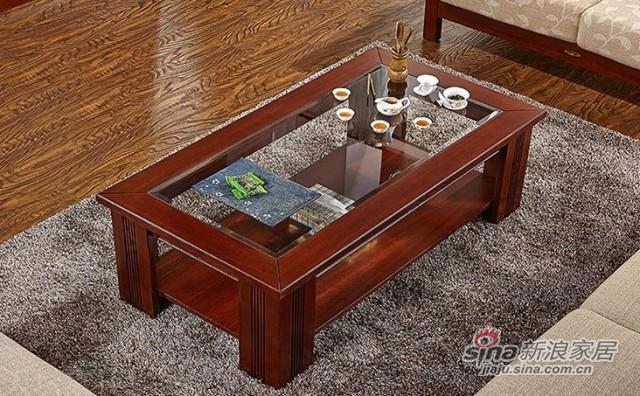 天坛新东方系列实木玻璃长茶几