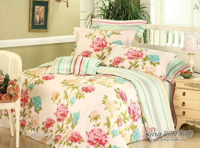 新货上市富安娜圣之花缎纹印花床单四件套花醉风吟-0