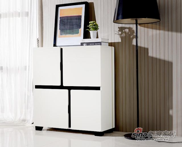 现代简约超大容量储物米白色鞋柜