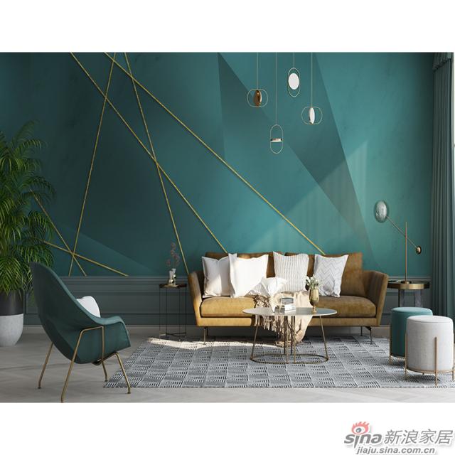 盗梦空间_松石绿现代轻奢壁画客厅、办公室壁画背景墙_JCC天洋墙布