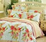 富安娜圣之花缎纹印花床单四件套静待花开