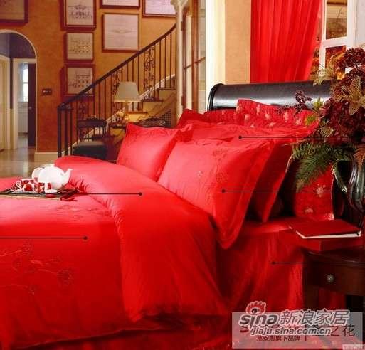 富安娜圣之花婚庆用品 全棉斜纹绣花 床单六件套真爱-0