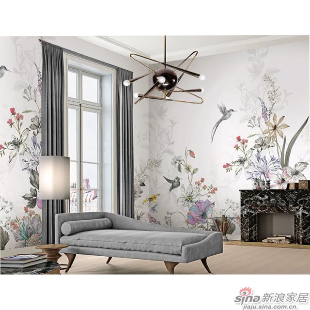 莫里安花园_奇花异草、缤纷斑斓壁画自然花鸟背景墙_JCC天洋墙布