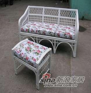 凰家御器韩式田园藤沙发三人沙发带脚凳客厅沙发NH-W001-0