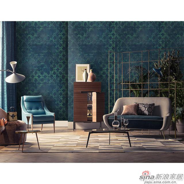 布达佩斯_深蓝色时尚轻奢壁画客厅、办公室壁画背景墙_JCC天洋墙布