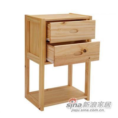 喜梦宝松木书柜置物架环保田园家具储物柜简约实木展示柜子原木色-0