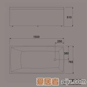 惠达-HD1306活动单裙边浴缸(含下水)2