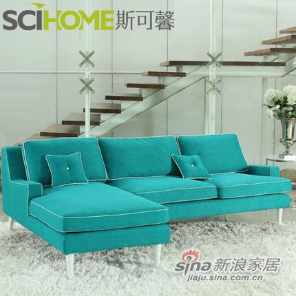 斯可馨 布艺沙发组合沙发可拆洗简约现代转角三人躺位 可定制4013-1