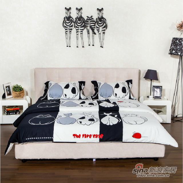 圆方园可拆洗年轻时尚布艺床1.5/1.8米短绒面料双人床软布床-0