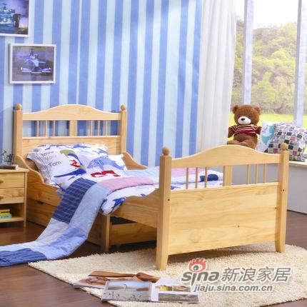喜梦宝实木伸缩儿童床松木1米单人床公主女孩实木床学生床小孩床-0