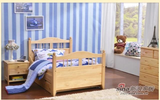 喜梦宝实木伸缩儿童床松木1米单人床公主女孩实木床学生床小孩床-2