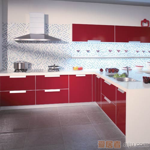 珊嘉橱柜烤漆面板:炫彩(不含台面)(红色)1