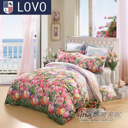 lovo全棉纯棉被套床单四件套件罗莱家纺出品床上用品-0