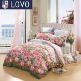 lovo全棉纯棉被套床单四件套件罗莱家纺出品床上用品
