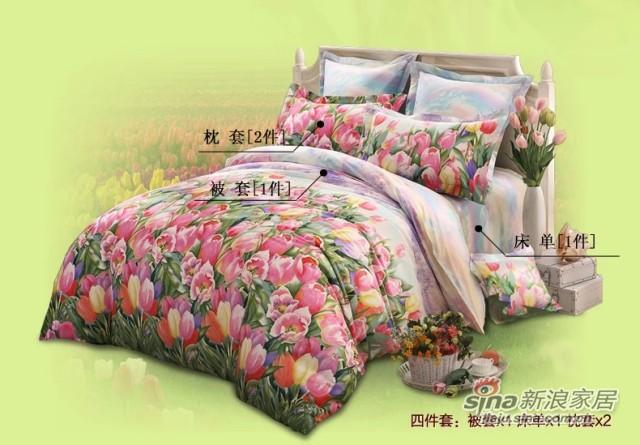 lovo全棉纯棉被套床单四件套件罗莱家纺出品床上用品-2