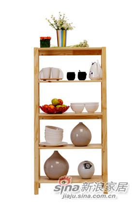 喜梦宝松木家具简约实木书架简易木架置物展示架厨房收纳架原木色-0