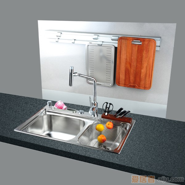 GORLDE优质不锈钢水槽/洗菜池 心仪系列2041FY(大小盆)1