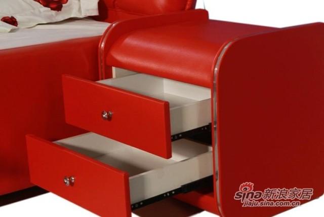 景上家居红色真皮软床-3