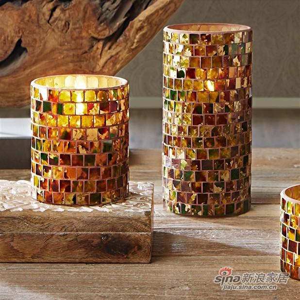 Mosaic 柱状贴片玻璃烛台-2