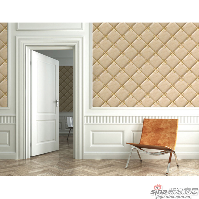 凡尔赛_槟金色真皮软包菱形图案壁画欧式风格背景墙_JCC天洋墙布