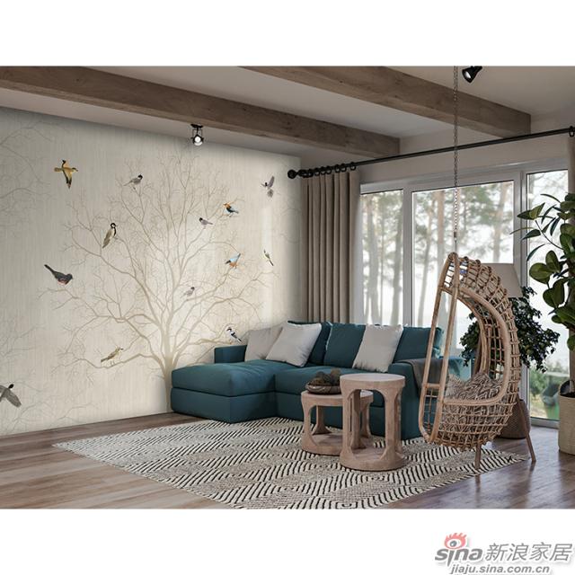 翼翼归鸟_翼翼归鸟,晨去于林壁画中式花鸟风格背景墙_JCC天洋墙布