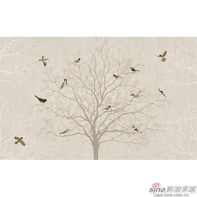 翼翼归鸟_翼翼归鸟,晨去于林壁画中式花鸟风格背景墙_JCC天洋墙布-1