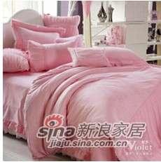 紫罗兰家纺婚庆仿丝棉粉色六件套梦缘VPEA612-6-0