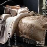 紫罗兰家纺全棉提花六件套马塞(驼色)VPEZ710-6