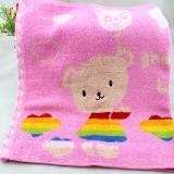 洁丽雅grace 纯棉半无捻圆点提花面巾 8026 红色1条 正品 可爱卡通