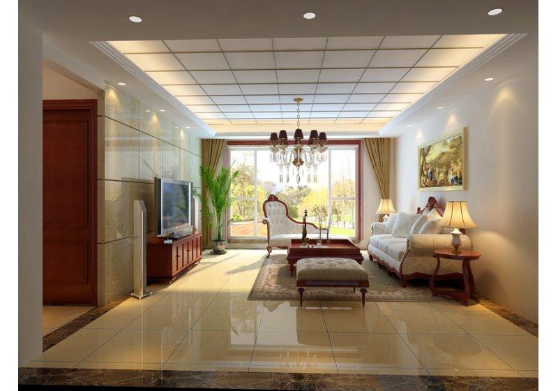 客厅:客厅整体设计简约体现空间比较宽敞明快。电视背景采用洞石材质和地面大理石呼应。显得高档华丽!客厅吊顶采用石膏板造型配合反光灯池!
