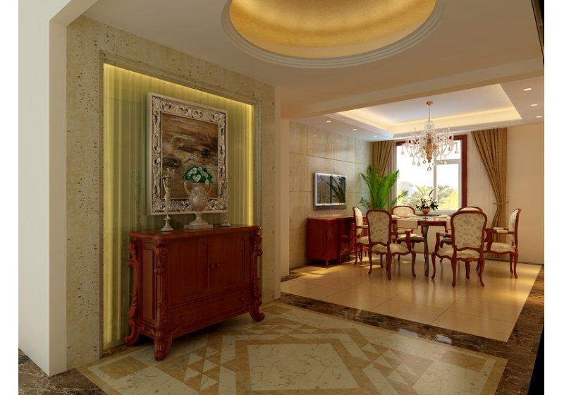 餐厅:餐厅风格与客厅户型。餐区背景也是大理石洞石。客厅吊顶采用石膏板造型配合反光灯池!显得空间高度更高!