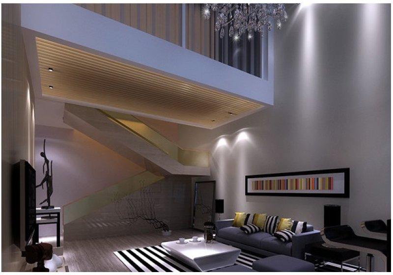 楼梯扶手采用了玻璃框架,显得精炼并且通透.