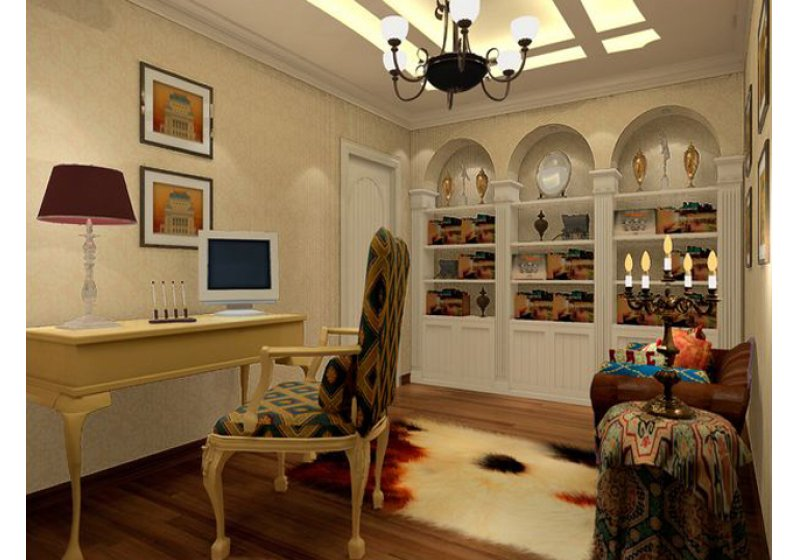书房:采用书房与客房相结合的家具摆放,比较实用一举两得。