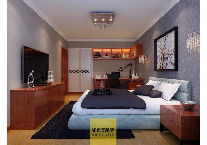 次卧室客房兼工作书房,墙面采用灰色壁纸显得稳重大方。