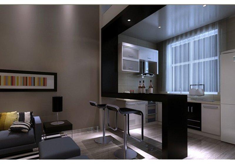 一楼厨房的空间狭小,无法满足日常的使用需求。所以敲掉了两面墙,作为开放性设计。在厨房门的地方设置了吧台,可以为平时吃饭用。