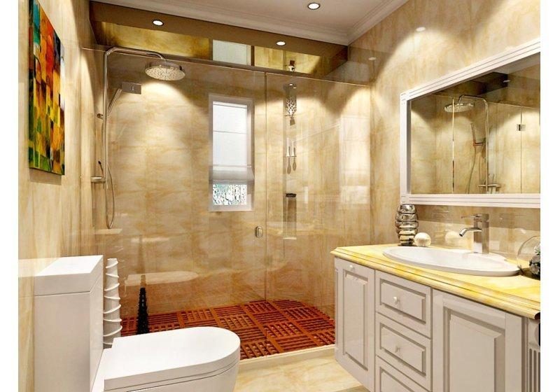 卫生间的特色是运用层次进行区域划分,干湿分离