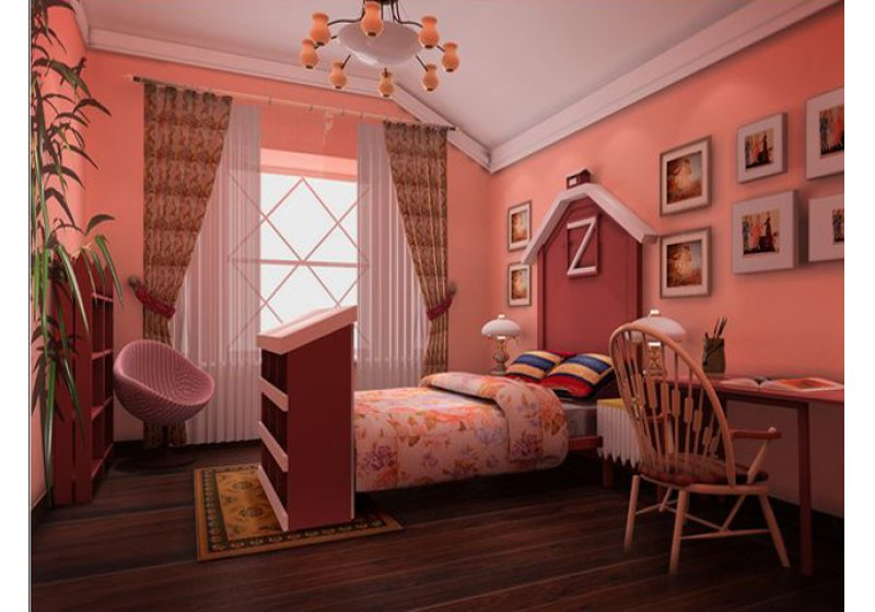主卧室:利用搭3层阁楼的钢结构做木质吊顶从分体现乡村风格。