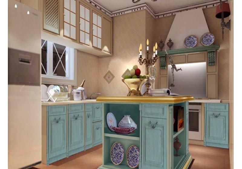 厨房:复古砖,实木橱柜,自然清晰。