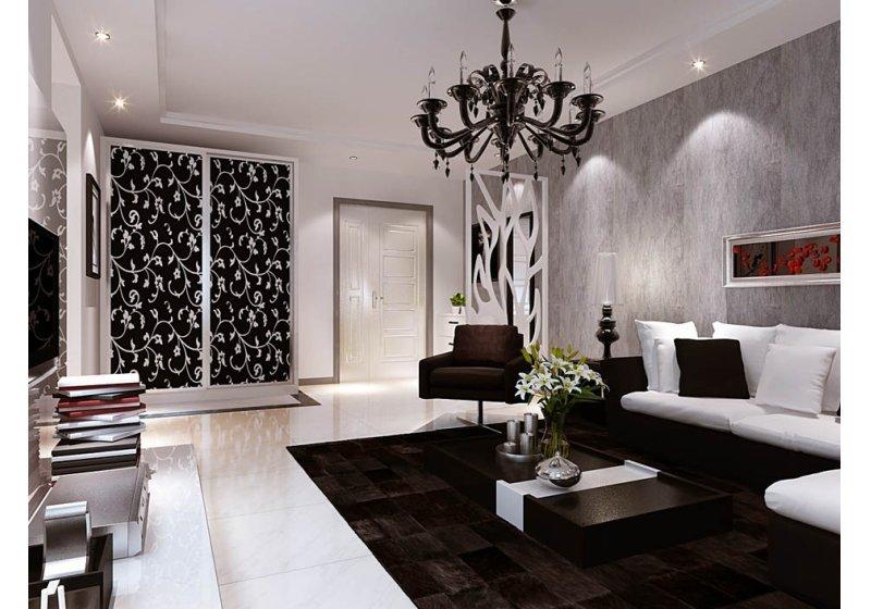 白色大理石电视墙的气势,对应深色质感的皮沙发,黑色毛地毯美好触觉感受,以黑色风潮席卷俐落的客厅空間,而灰色壁纸的粗犷壁面,则视为居家情境的调和元素。