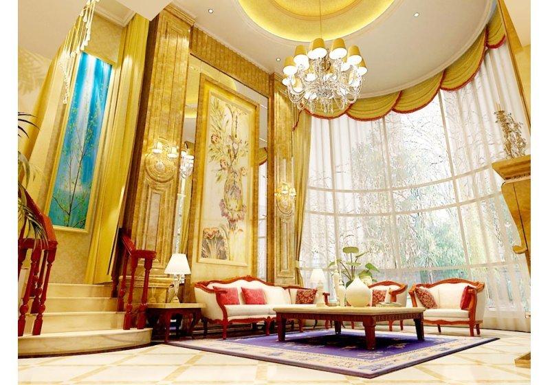 借助调高的优势,采用高大的落地窗户、大幅画品,丰满视觉。淡金色与大红色对撞,减少了欧式风格的厚重。