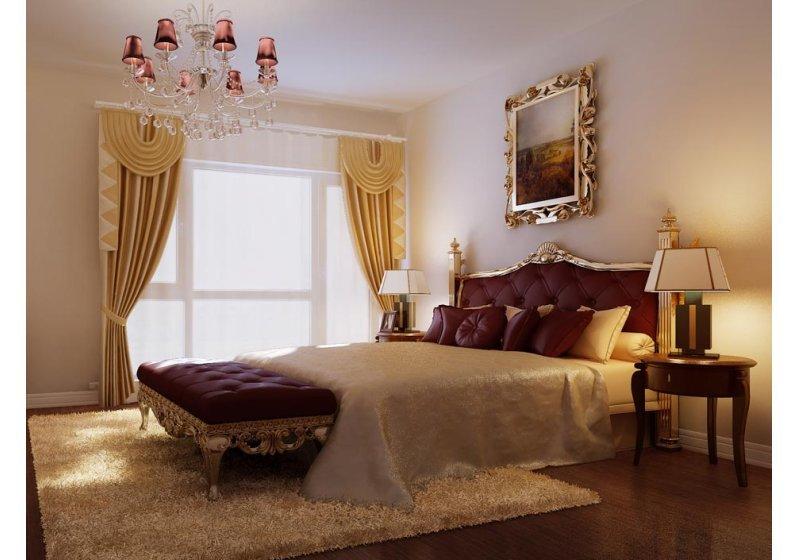 描金雕花大床,是美式风格的特色。配以紫色的软饰,透漏出女性的温婉