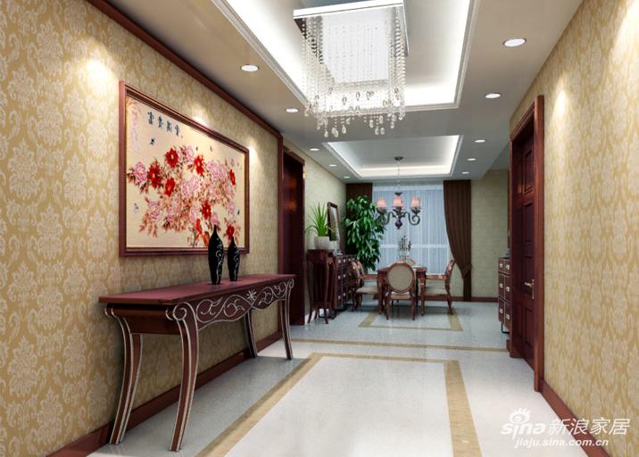 设计理念:门厅是进门第一进入眼帘的空间,给人好的第一印象也会给主人的品味加分,并且生意人也要对风水进行细心的考究。 亮点:红木色的家居彰显华丽的空间视觉,配上欧式暖色壁纸,更使得空间大气有风度,进门处设置一幅花开富贵,更是寓意着业主的生意会越做越好。